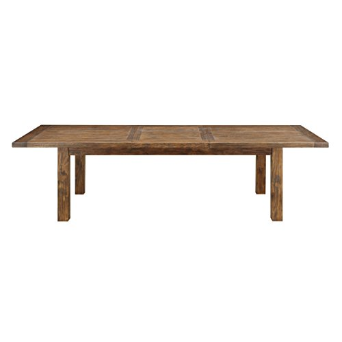 (Emerald Home Chambers Creek Brown Dining Table with Self Storing Butterfly Extension Leaf And Straight Timber Legs)