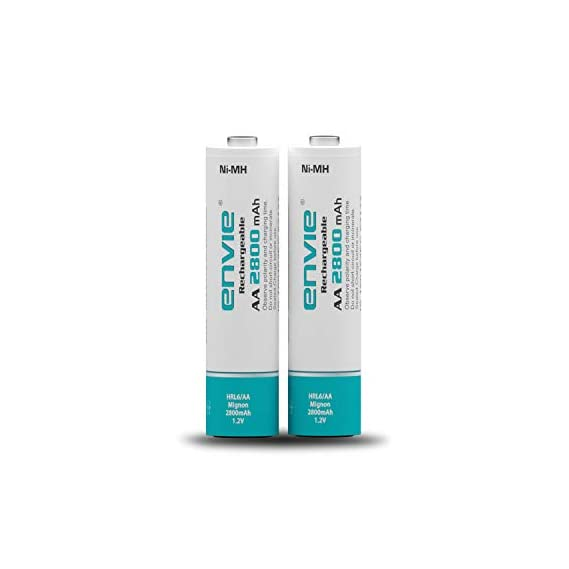 Envie Pack of 2, AA Ni-Mh 2800mAh Capacity Rechargeable Battery (AA2800 2PL)