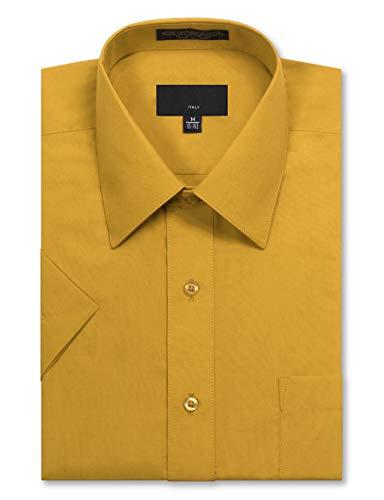 40 Cotton Polyester Short - JD Apparel Men's Regular Fit Short Sleeve Dress Shirts 17-17.5N X-Large Light Yellow