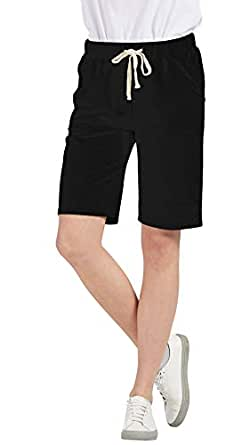 Chartou Women's Comfy French Terry Elastic Wasit Knit Jersey Bermuda Shorts with Drawstring (Black, X-Small)