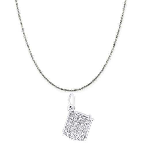Rembrandt Charms Sterling Silver Drum Charm on a Sterling Silver Rope Chain Necklace, 18