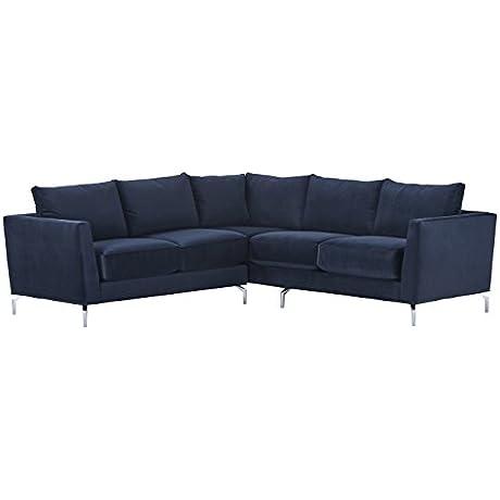 Rivet Emerly Modern Velvet Metal Leg Sectional Sofa 96 W Navy