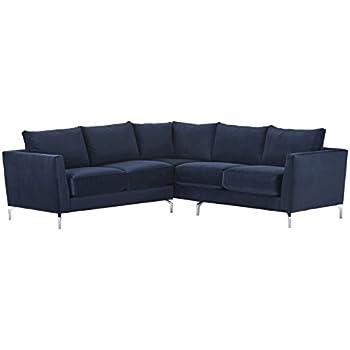 """Rivet Emerly Modern Velvet Metal Leg Sectional Sofa, 96""""W, Navy"""