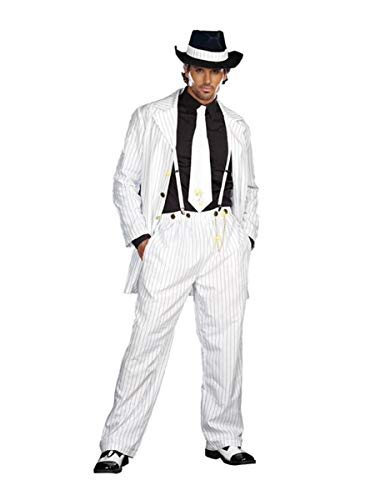Dreamgirl Men's Zoot Suit Riot Costume, White/Black, Large