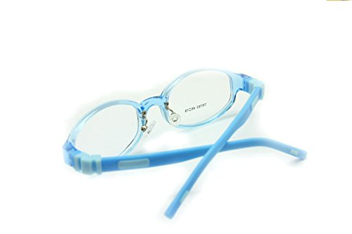 19eec3d1915c EnzoDate Flexible Kids Eyeglasses Size 48mm Silicone TR90, Boys Girls  Glasses Switchable Temples, Optical Children Glasses (blue)