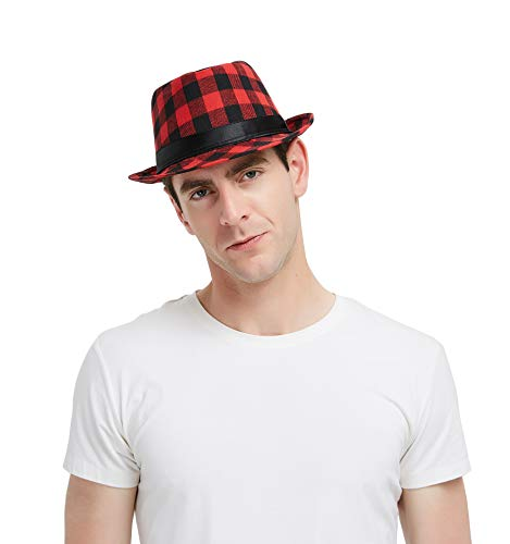 Plaid Print Fedora Soft Checked Print Outdoor Hat Cap, Black and Red (Fedora Red Plaid)
