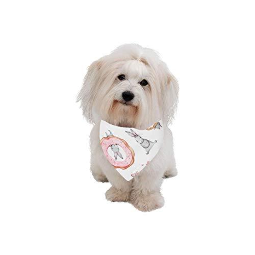 (WIEDLKL Easter Pet Dog Cat Bandana Rabbit Cartoon Cute Animal Cartoon Hand Drawn White Fashion Printing Bibs Triangle Head Scarfs Kerchief Accessories for Large Dog Cat Pet Birthdays Party Gifts)