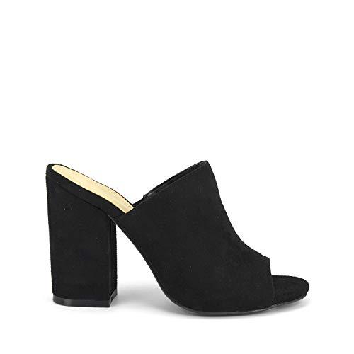Suede Like Peep Toe - GottaBe Shoes Womens Heels Avila Bordeaux Suede by Wild Diva Slip-On Peep Toe Chunky Stacked Block Heel Mule (8, Black)