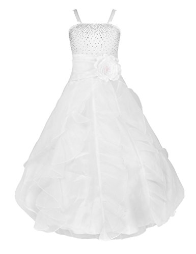 YiZYiF Kids Big Girls Flower Party Wedding Gown Bridesmaid Organza Ruffle Dress White -