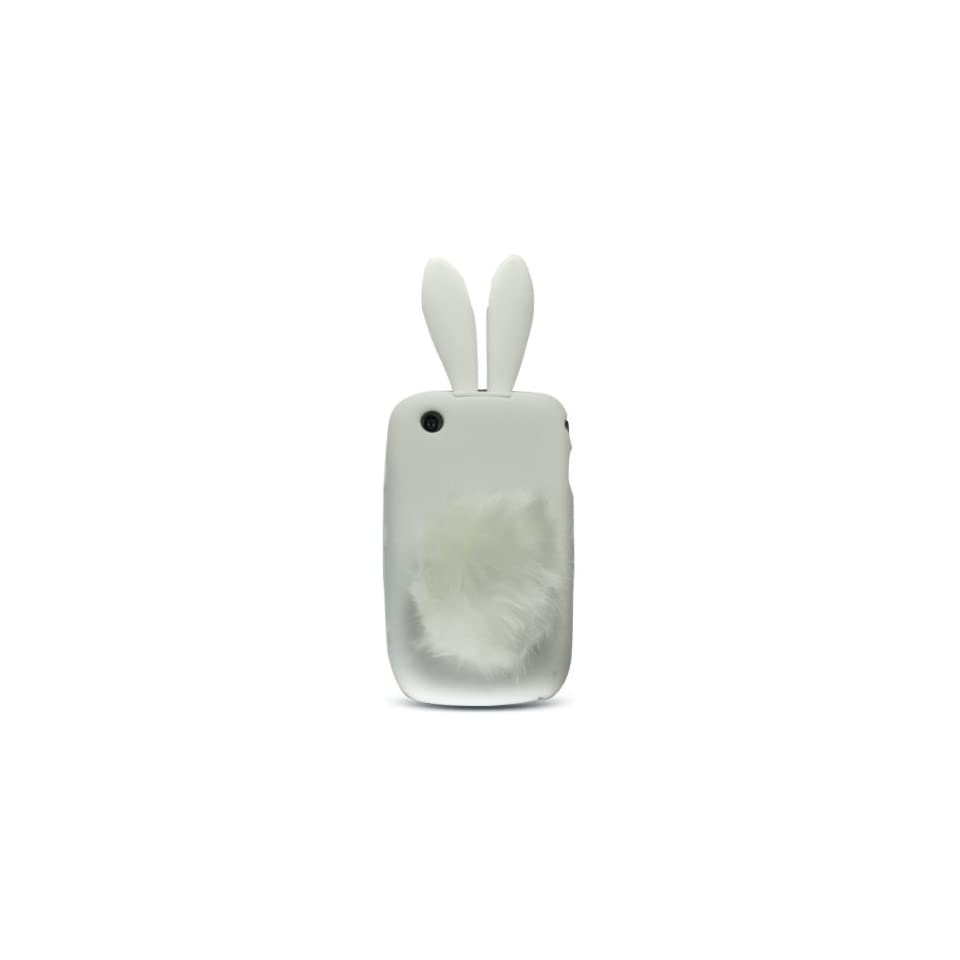 White Rabit Bunny Design Soft Silicone Skin Gel Cover Case with Fur Tail Stand for Blackberry 8520 8530 9300 + Lcd Screen Guard + Microfiber Pouch Bag