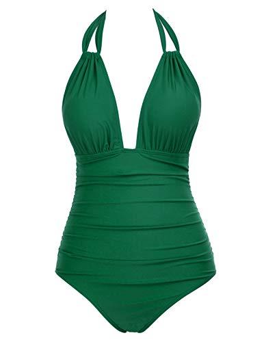 Women's Vintage Pin up Swimwear One Piece Halter Swimsuits High Neck Green ()