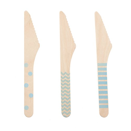 Knife Party Supplies, Cutlery (Light Blue 18 Count Wooden Knife) - Stripe, Chevron & Polka Dot Wedding Cake Knife, Baby Shower Utensils, Outdoor Dinnerware, Disposable Knives