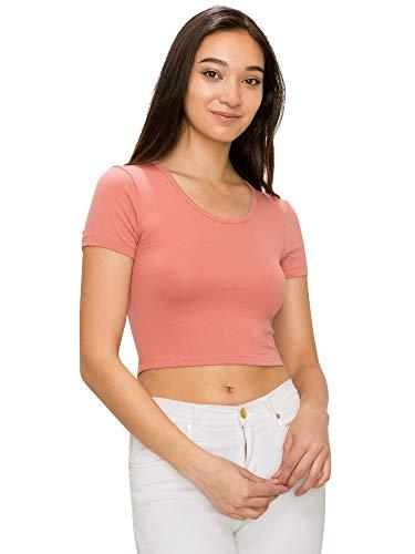 EttelLut Cute Basic Crop Top-Casual Sexy Yoga Gym Cotton Knit Ash Rose S