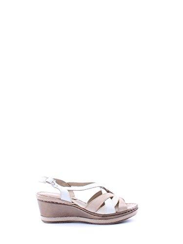 sandalo zeppa art 019035 multicolor bianco ebano beige taupe