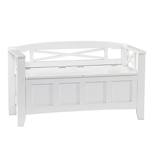 Southern Enterprises Cutler Storage Entryway Bench, White Finish (Bathroom Storage Low)