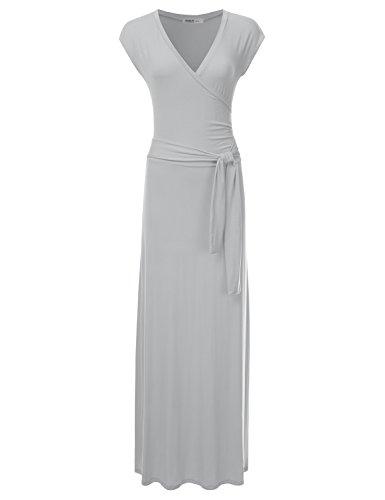 NINEXIS Women's V-Neck Cap Sleeve Waist Wrap Front Maxi Dress Grey ()