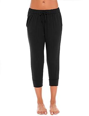 Goldenfox Casual Pants Women's Capri Jogger Trouser Tree Quarter Lounge Sweat Pant With Pockets S-L