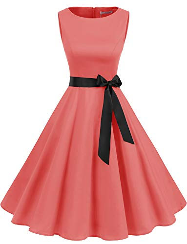 Gardenwed Women's Audrey Hepburn Rockabilly Vintage Dress 1950s Retro Cocktail Swing Party Dress Coral S