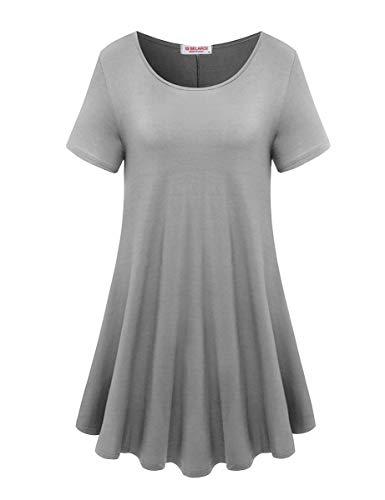 BELAROI Women's Short Sleeve Tunic Tops Plus Size T Shirt Blouses(2X,Light Gray) (Denim Grey Leggings)