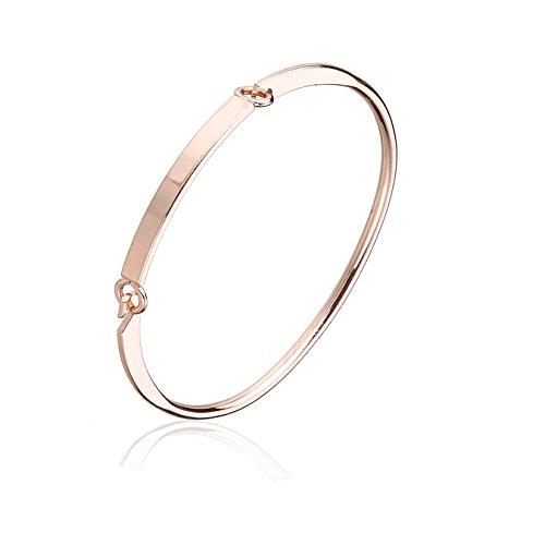 2 Pack Simple Love Rose Gold and Silver Friendship Bangle Bracelet for Women (Adult Friendship Bracelets)