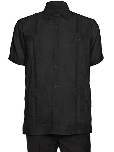 GIOVANNI UOMO Mens Short Sleeve 100% Linen Guayabera Shirt Black -
