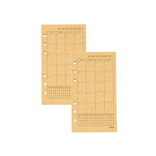 Chris.W 80 Sheets A6 Monthly Plan Refills Persoanl Planner Inserts, Kraft Binder Filler Paper for Personal 6-Ring Binder(3.7