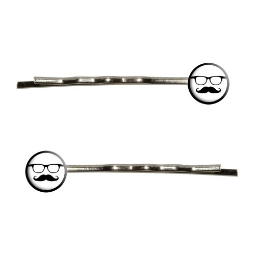 Graphics and More Hipster Glasses with Mustache Bobby Pins B