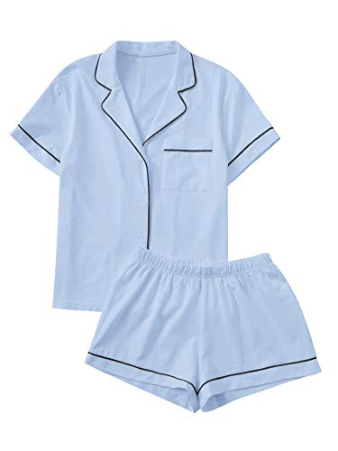 Floerns Women's Notch Collar Short Sleeve Sleepwear Two Piece Pajama Set Blue L (Best Women's Pajama Sets)