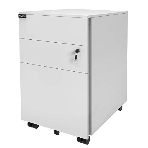 AIMEZO Heavy Duty Metal Solid Steel 3 Drawer Mobile File Cabinet with Lock, Office Pedestal File Cabinet 5 Rolling Casters