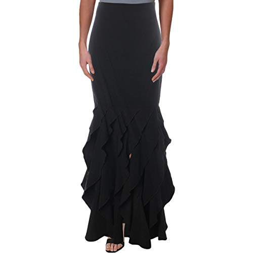 - Tadashi Shoji Womens Silk Contrast Ruffled Maxi Skirt Black 8