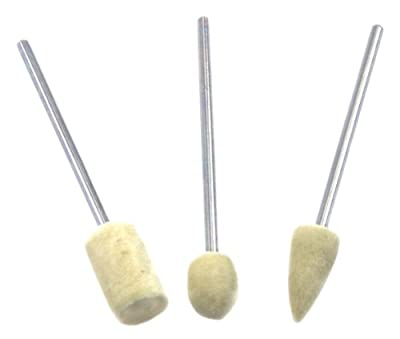 Forney 60209 Felt Polishing Kit with Cylindrical, Ball and Bullet Shaped Bobs, 3/32-Inch Shafts, 3-Piece