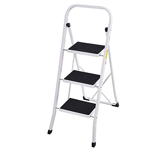 Livebest Portable Folding Step Ladder 3 Step with Handgrip Safety Step Stool Light Weight for Home and Kitchen,330 lbs Capacity,Iron Steel by Livebest