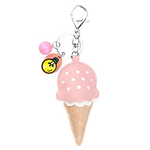 MUAMAX Ice Cream Keychain Leather Key Ring Car Key Holder Women Girls Gifts Key Finder Key Bag Purse Charm Decorations (Pink)
