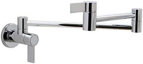 Huntington Brass K1900702 Modern styled wall mounted pot filler MEDIUM PVD Satin Nickel Finish