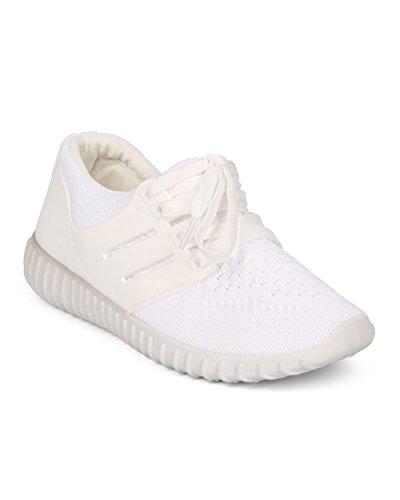 Alrisco Femmes Dentelle Panneau Sneaker - Tricoté Lacets Up Jogger - Gym Exercice De Marche Chaussure Active - Hc04 Par Nature Breeze Collection Blanc Mix Media