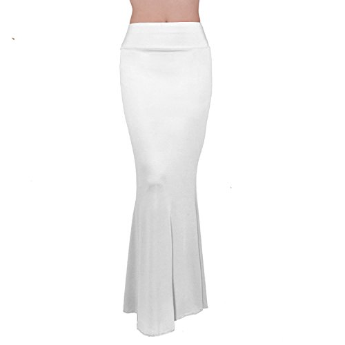 Asatr Women's Rayon Mermaid Fold Over Elastic High Waist Bodycon Floor Length Maxi Evening Skirt Dress,White