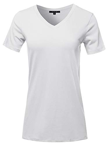 Basic Solid Premium Cotton Short Sleeve V-Neck T Shirt Tee Tops White S