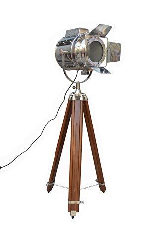 (Shiv Shakti Enterprises Flap Designer With Wooden Tripod Spot Floor Searchlight Nautical Decorative Studio Lighting Lamp)