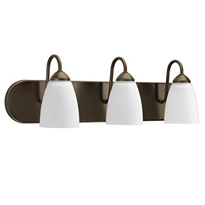Progress Lighting P2708 Gather 3 Light Bathroom Vanity Light with Etched Glass S,