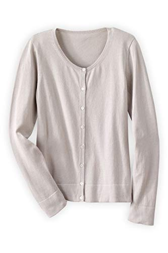 Fair Indigo Fair Trade Organic Jewel Neck Cardigan (M, Stone) Cotton Jewel Neck Sweater