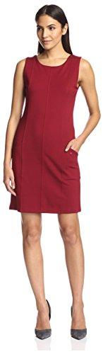 Seamed Shift Dress (SOCIETY NEW YORK Women's Seamed Shift Dress, Wine, L)