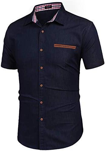 COOFANDY Camisa Vaquera Camisa Manga Corta Hombre Camisa Vaquera Cuadros Slim fit Casual Cuello Kent Hombre: Amazon.es: Ropa y accesorios