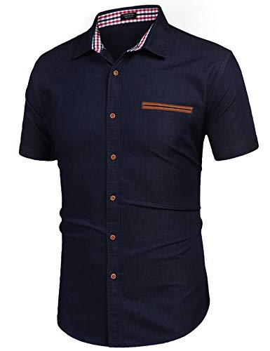 COOFANDY Men Regular Fit Cowboy Summer Short Sleeve Slim Fit Denim Shirt ()