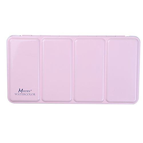 MEEDEN Empty Watercolor Tins Box Palette Paint Case, Large Pink Tin, Will Hold 48 Half Pans Or 24 Full Pans