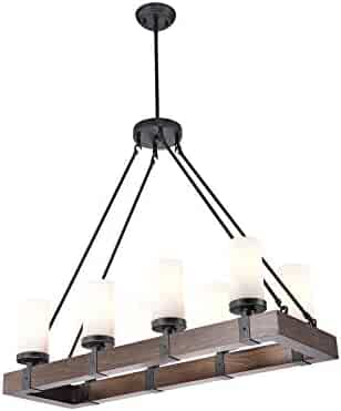Jojospring Daniela Antique Black Linear Rectangular Wood Chandelier with Frosted Glass Globes