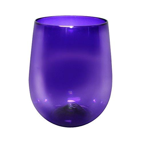 Barware 12oz Plastic Stemless Wine Glass, set of 12, Shatterproof Tumbler, Translucent Purple ()