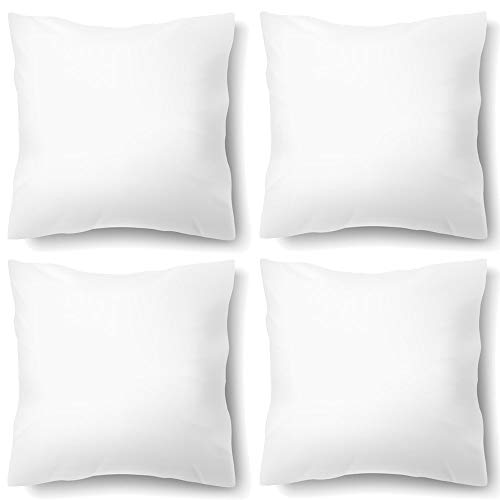 Form Filling (HIPPIH 4 Pack Decorative Pillow Inserts, 18 x 18 Inch Hypoallergenic Square Fluffy Throw Pillows - Thick Filling Down Like Comfort Form Sham with Zip, Standard/White for Sofa/Bed/Couch/Office)