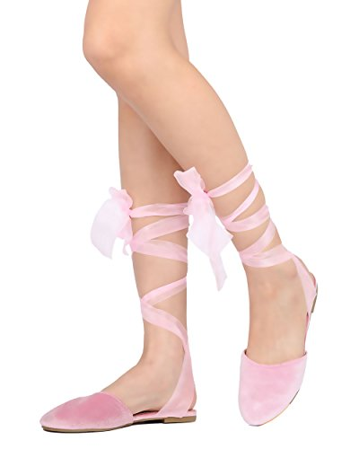 Cape Robbin Juliet-3 Women Velvet Lace Up Sandal - Casual Dressy Costume - Sheer Ankle Wrap (Creative Cute Women Halloween Costumes)