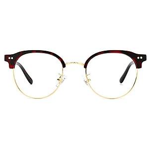 TIJN 80' s Vintage ClubsMan Horned Rim Half Thick Glasses Clear Lens Eyeglasses