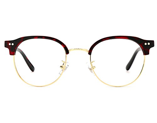 TIJN 80' s Retro Horned Rim Half Frame Acetate Optical Eye - Eyeglasses Half Rim